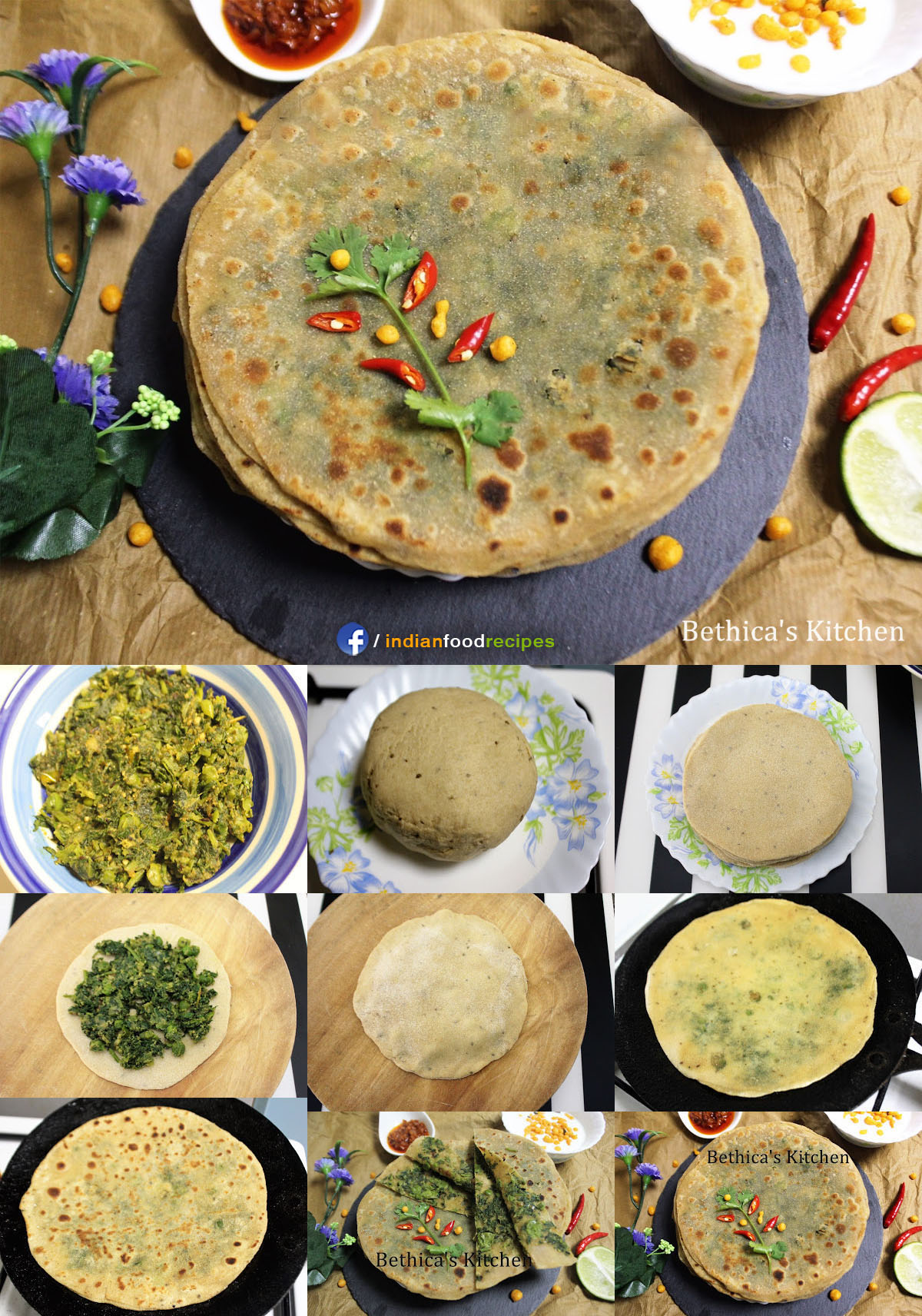 Hara Bhara Bharwan Paratha (Greens Stuffed Flat Bread) recipe step by step pictures