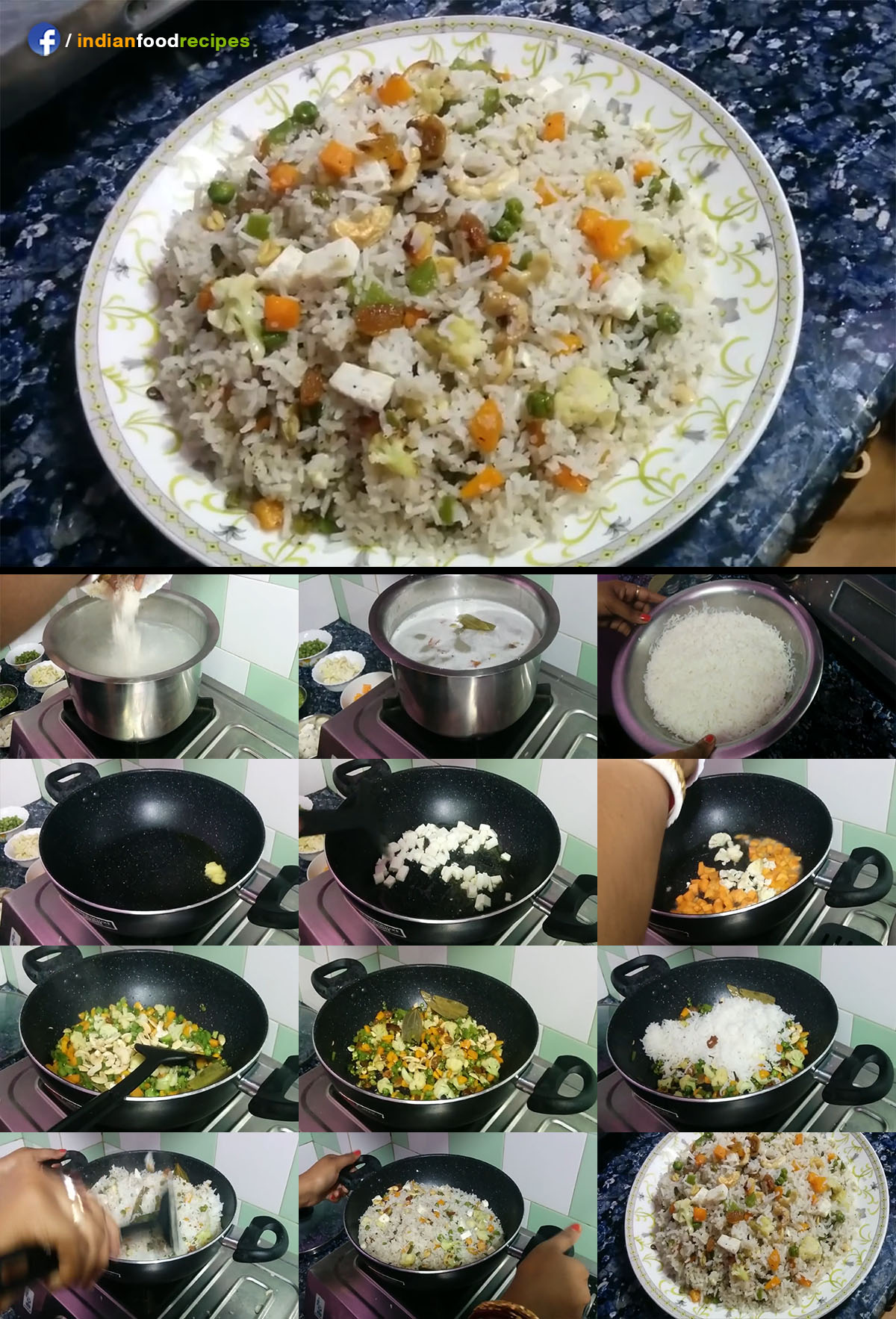 Vegetable Paneer Fried Rice recipe step by step