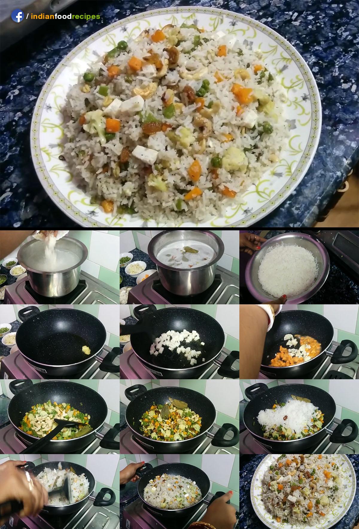 Vegetable Paneer Fried Rice recipe step by step