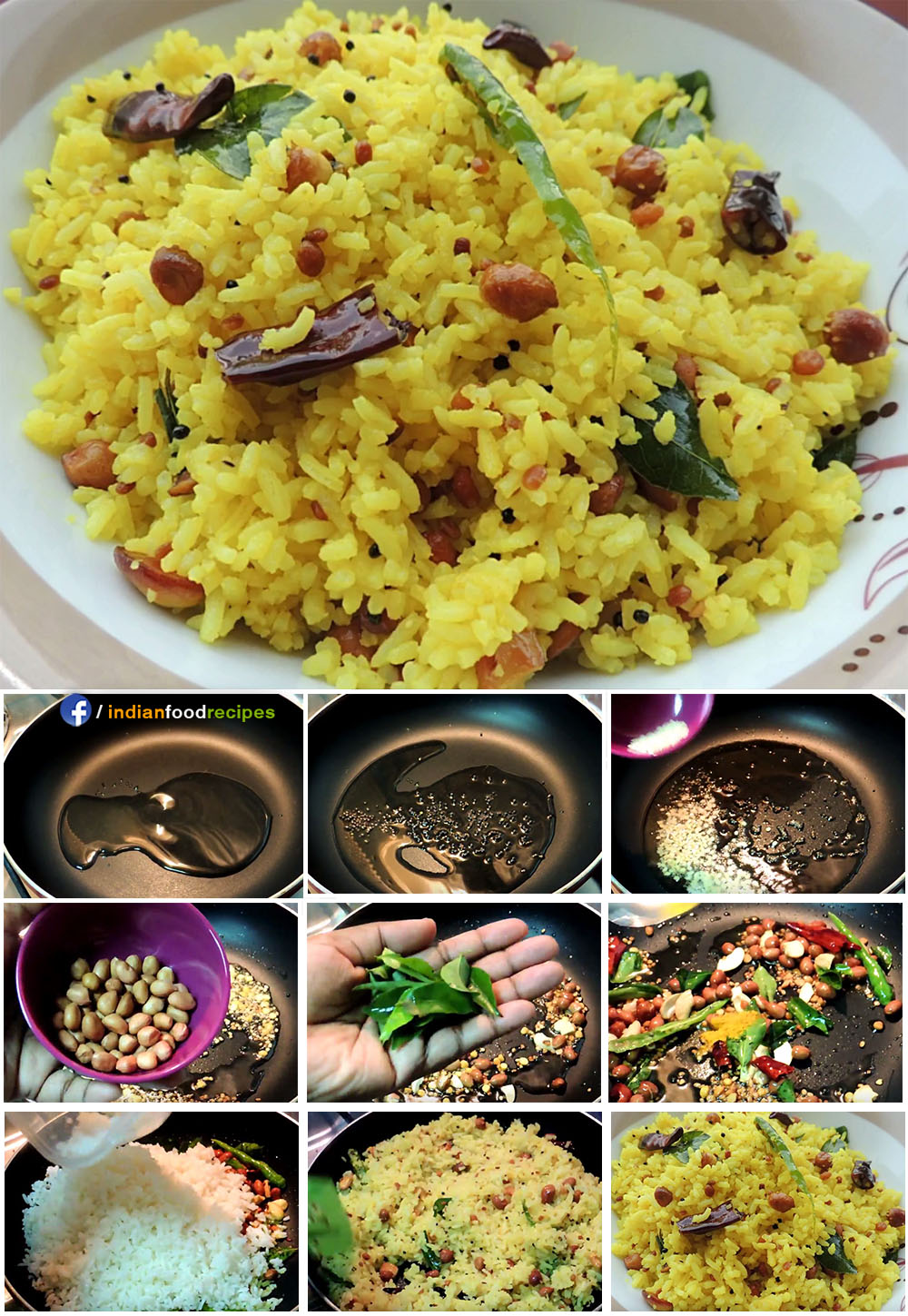 Lemon Rice no onion no garlic recipe step by step pictures