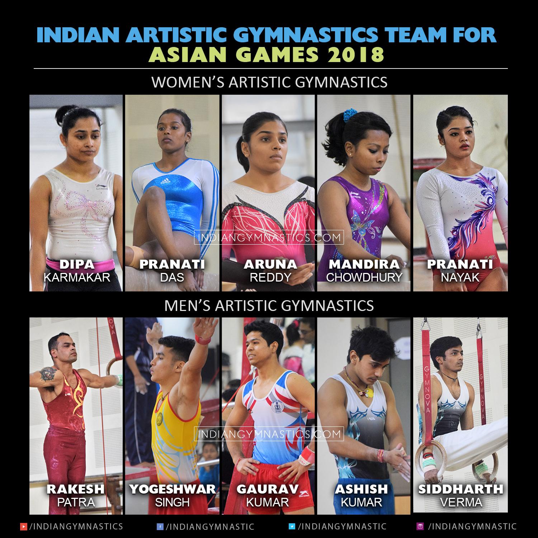 Indian Artistic Gymnastics Team for Jakarta Asian Games 2018