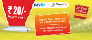 Playerzpot Paytm Offer