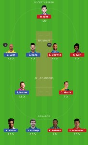 DC vs KKR Best Dream 11 team 2