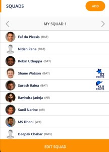 Kolkata vs Chennai Playerzpot Fantasy Team