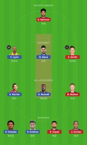 KKR vs RR Best Dream11 Team Today 1