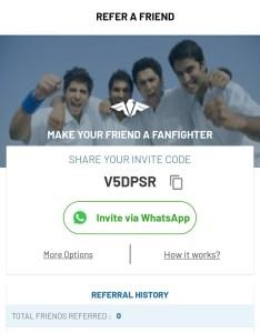 FanFight App Referral Code, Invite & Earn Rs.100 Cash Bonus