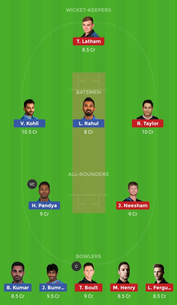 ind vs nz dteam11 team for grand league