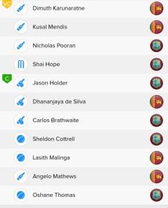 ICC WC Match 39th SL Vs WI Ballebaazi Classic team