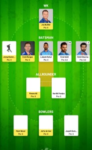 IND VS ENG Fanfight Fantasy Team For Todya's Match
