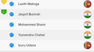 ICC WC Match 44th IND VS SL Ballebaazi Bowling team