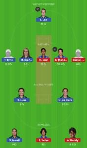 SA W vs IND W Dream11 Team for small league