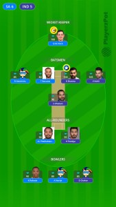 PlayerzPot Fantasy Team For india vs South Africa