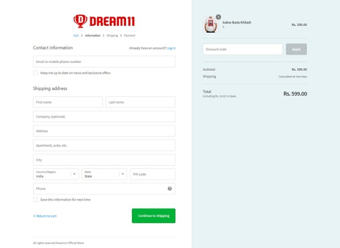 dream11 tshirt shipping information