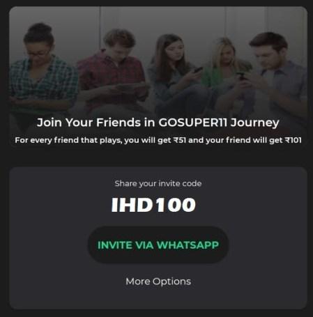 Share GoSuper11 Referral Code, Earn Free Bonus