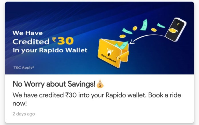 Rapido promotional offer
