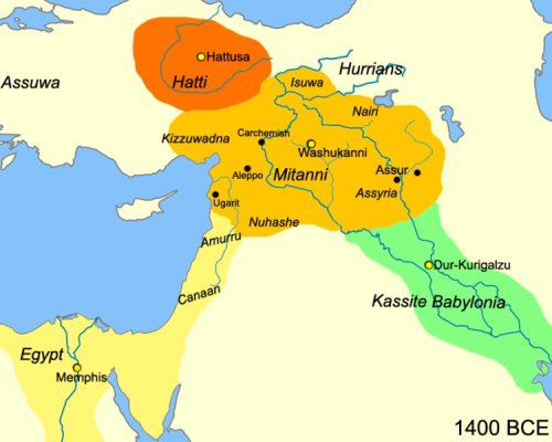 The Mitanni kingdom, located in present-day Syria and Anatolia.