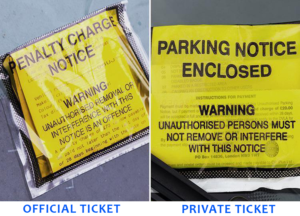official vs private parking fines indian ladies uk