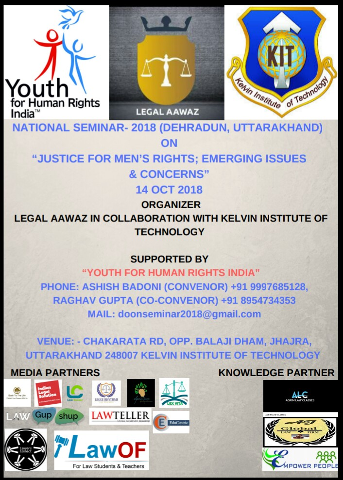 "NATIONAL SEMINAR- 2018 (DEHRADUN, UTTARAKHAND) ON ""JUSTICE FOR MEN'S RIGHTS; EMERGING ISSUES & CONCERNS"" 14 OCT"