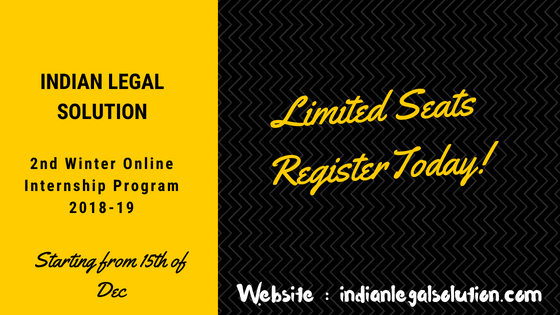 Online 2nd Winter Internship opportunity @indianlegalsolution.com