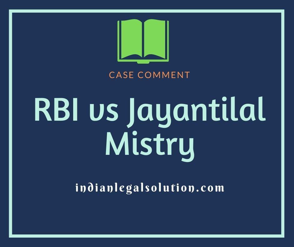 Reserve Bank of India v. Jayantilal Mistry