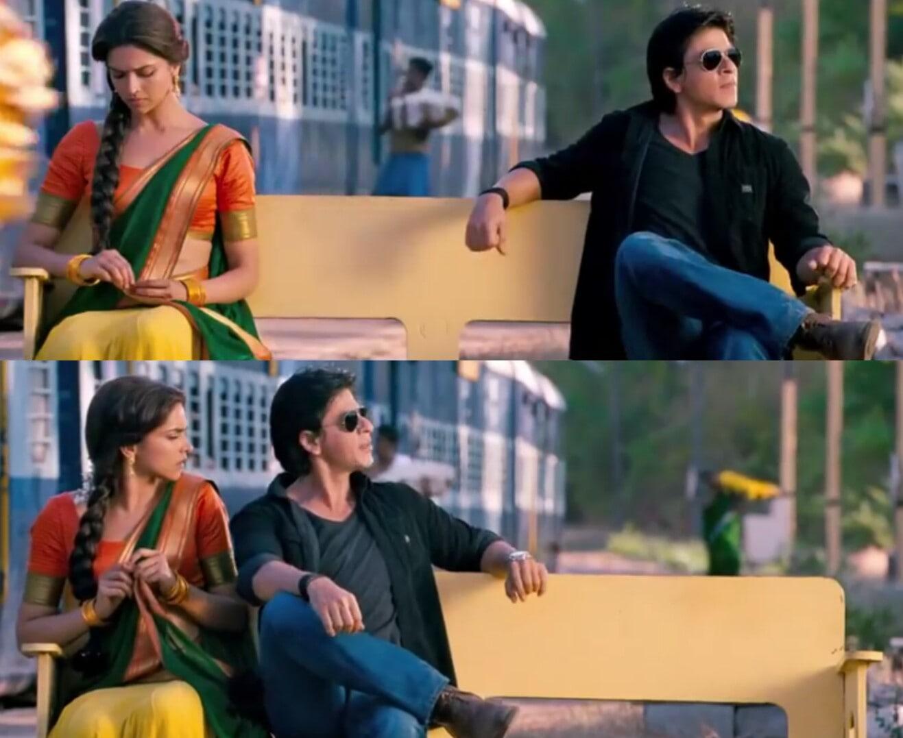 Shahrukh Khan sitting near Deepika Padukone Chennai express meme