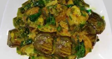 Spring onion and brinjal recipe