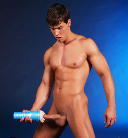 Naked Boy Doing Masturbation With Fleshlight Masturbator Sex Toy Fake Pussy 7