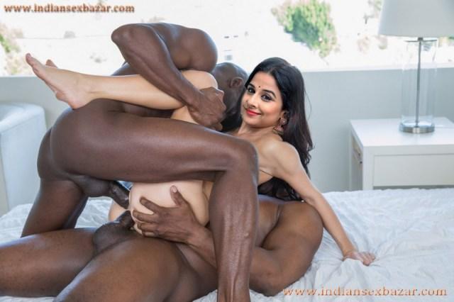 Nangi Indian Bollywood Film Actress Vidya Balan Hardcore Double Penetration By Big Black Cock XXX Porn Pic 3