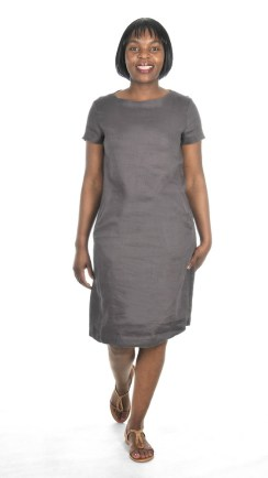 CHARCOAL BOATNECK DRESS R1095 LES TRO BABA SERPENT TAN SHOES R1599