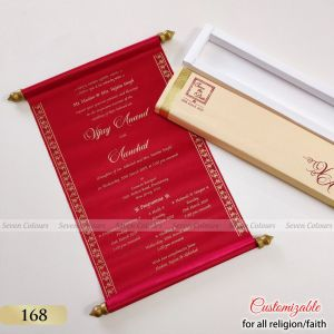 Scroll Type Indian Wedding Invitation Cards Cheapest Rates