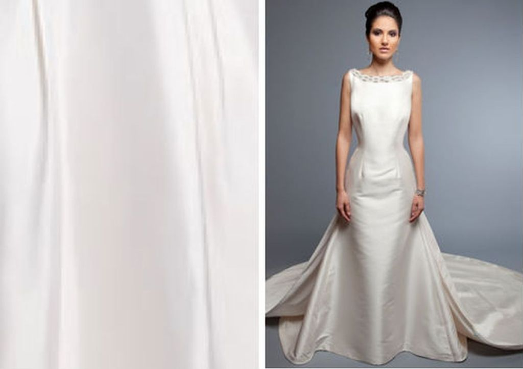 Glossy silk Pick-Up Gown with Appliqué Detail