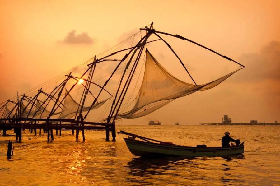 Sunset over Chinese Fishing nets