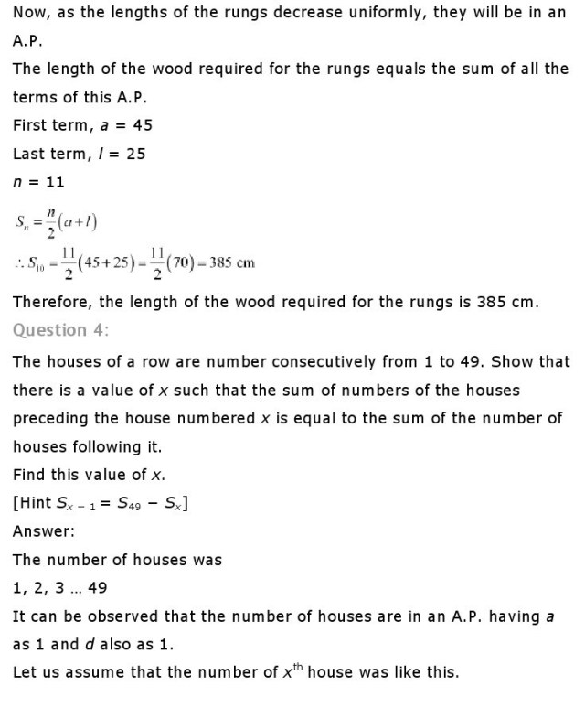 Class 10th Maths Chapter 5 Arithmetic Progressions
