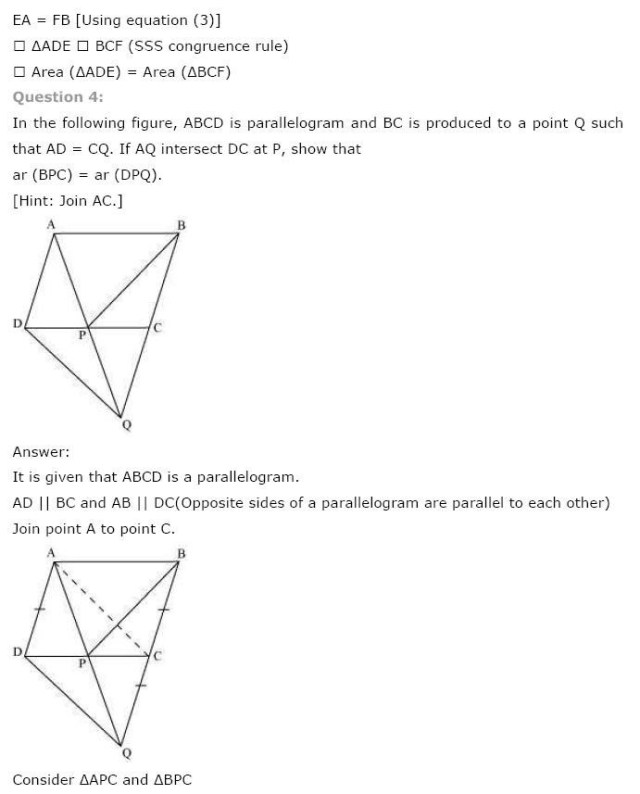 NCERT Solutions For Class 9th Maths Chapter 9 : Areas of Parallelograms and Triangles 4
