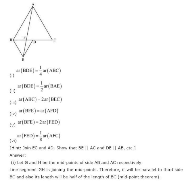 NCERT Solutions For Class 9th Maths Chapter 9 : Areas of Parallelograms and Triangles 6