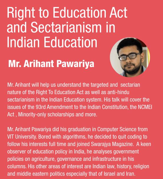 RTE - Minorityism In Indian Education: A Talk by Arihant