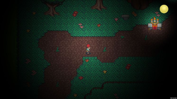 A screenshot of the forest dungeon, showing the fusion altar and the crafting anvil.