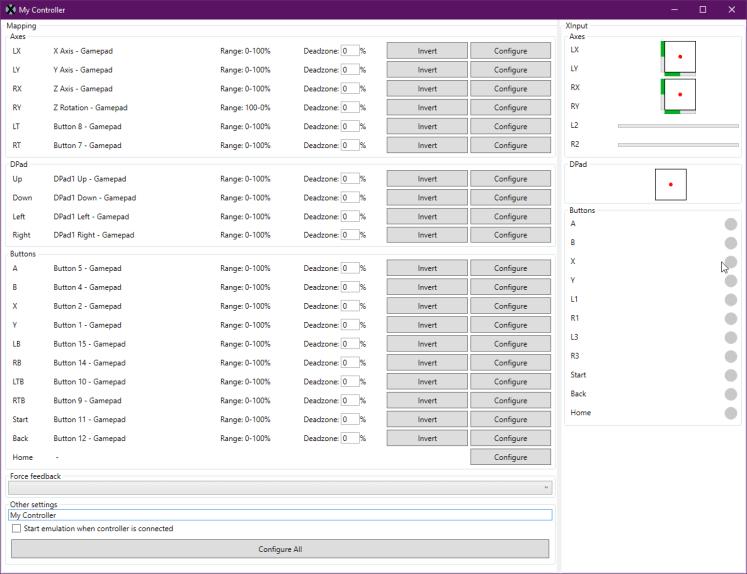 XOutput Screenshot