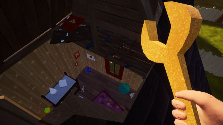 Screenshot of the girl's room from the broken ceiling in Hello Neighbor