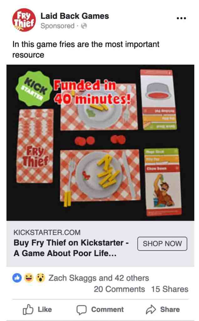 Facebook ad for Fry Thief