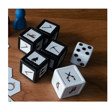 Indented dice with custom printed stickers