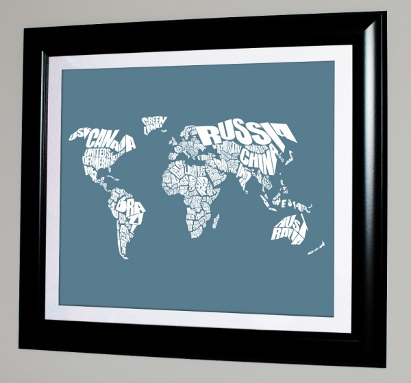 World Word Map - Refuge and White Framed