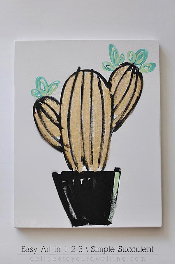 Simple Succulent Art DIY - Indie Crafts