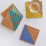 Easy Colorful Striped Coasters DIY