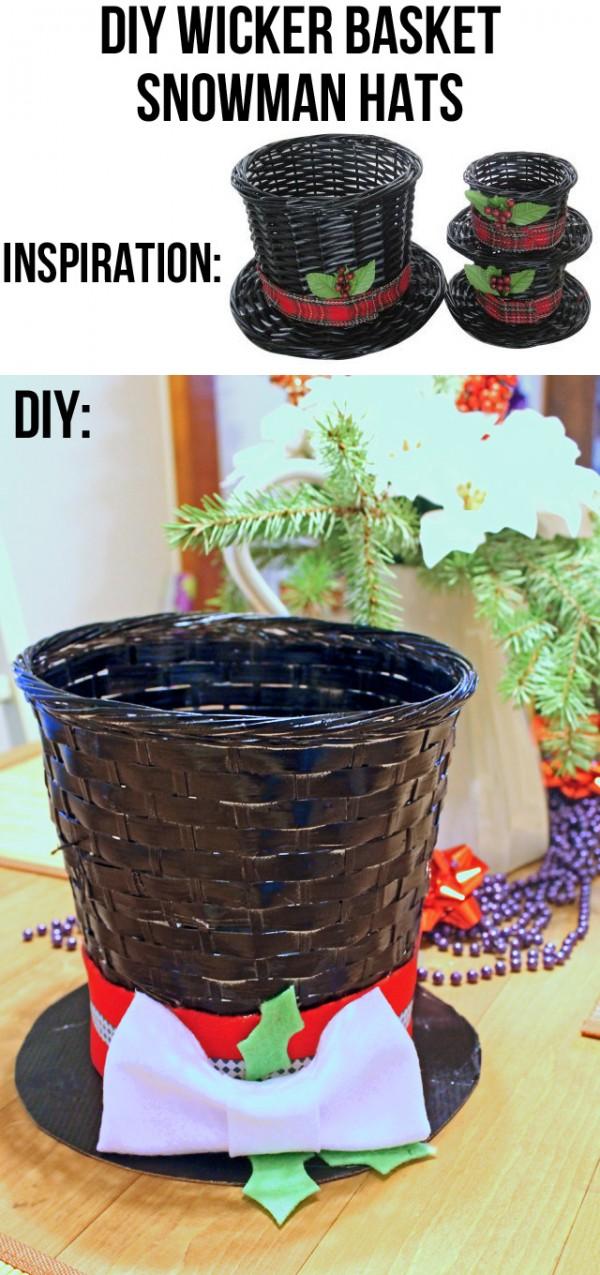 Diy Wicker Basket Snowman Hat Decor Indie Crafts