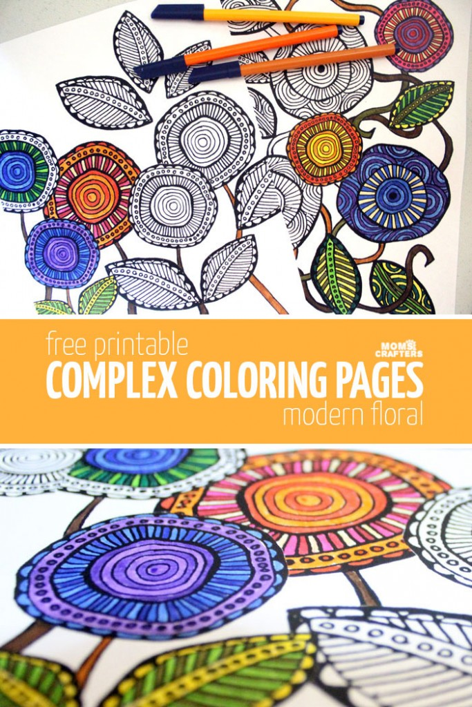 Free Printable Adult Coloring Pages - Modern Floral ...