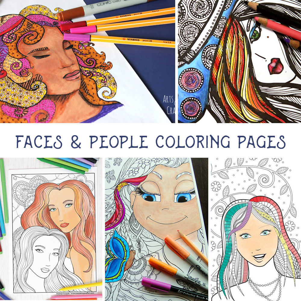 "5 Free ""Faces"" Coloring Pages for Adults – Indie Crafts"