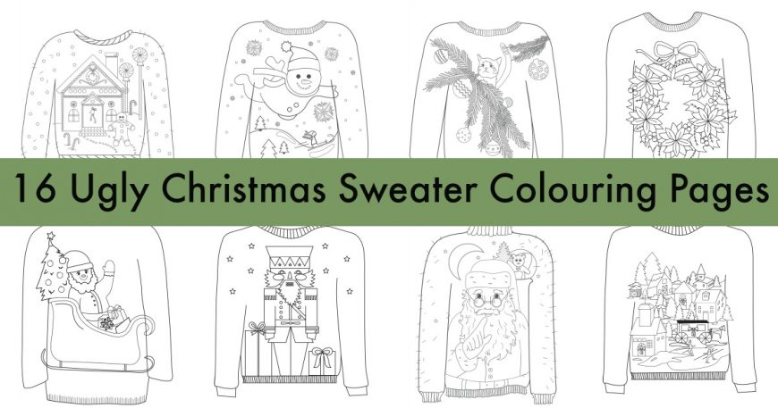 16 Ugly Christmas Sweater Coloring Pages – Indie Crafts