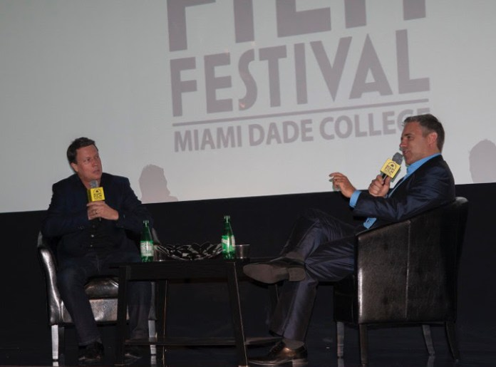 Gavin Hood in conversation with Festival director Jaie Laplante photo by Carlos Llana