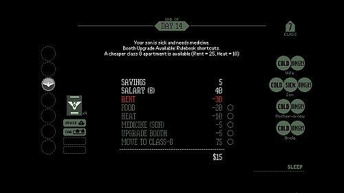 Papers, Please game screenshot - money management